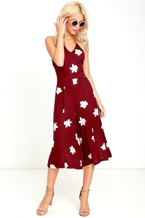 Olive & Oak Plenty of Time Burgundy Floral Print Midi Jumpsuit at Lulus.com!