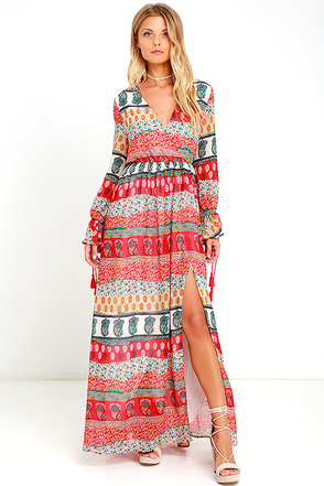 She's a Vision Red Print Maxi Dress at Lulus.com!