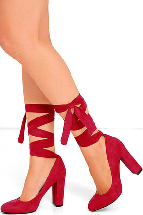 Ever So Sweet Dark Red Suede Lace-Up Heels at Lulus.com!