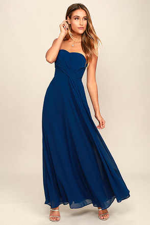 Romantic Ballad Navy Blue Strapless Maxi Dress at Lulus.com!