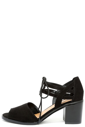 Mia Luella Black Suede Lace-Up Heels at Lulus.com!