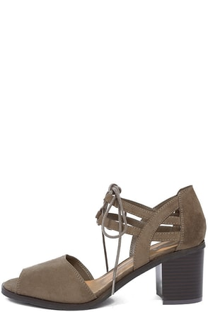 Mia Luella Taupe Suede Lace-Up Heels at Lulus.com!