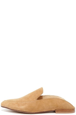 Chinese Laundry Capri Camel Kid Suede Loafer Slides at Lulus.com!