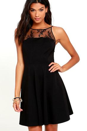 BB Dakota Milford Black Lace Skater Dress at Lulus.com!