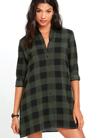 BB Dakota Holly-Anne Green Plaid Shirt Dress at Lulus.com!