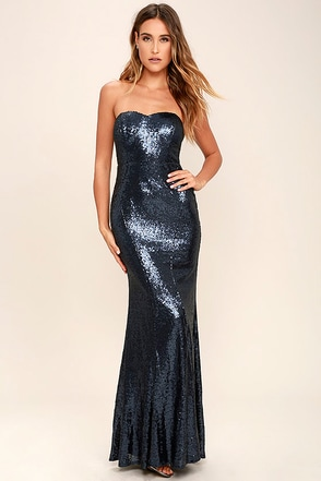 Majestic Muse Navy Blue Strapless Sequin Maxi Dress at Lulus.com!