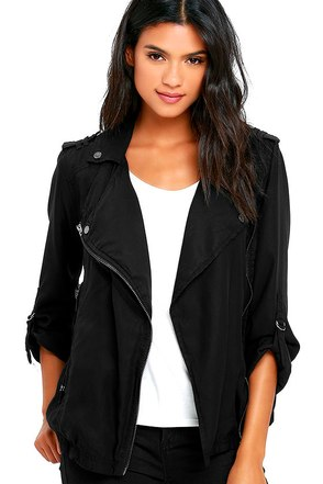 Blank NYC Woven Black Moto Jacket at Lulus.com!
