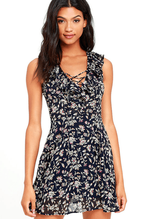 JOA Come See Me Navy Blue Floral Print Skater Dress at Lulus.com!