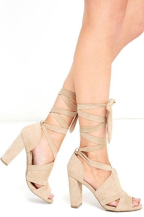 A Bit of Fun Natural Suede Lace-Up Heels at Lulus.com!