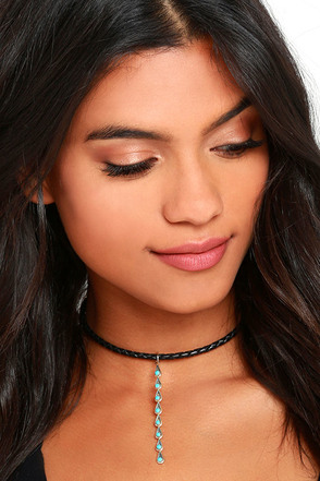 Natalie B Desert Drop Black and Turquoise Choker Necklace at Lulus.com!