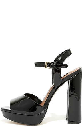 Steve Madden Kierra Black Patent Leather Platform Heels at Lulus.com!