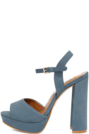 Steve Madden Kierra Light Blue Nubuck Leather Platform Heels at Lulus.com!