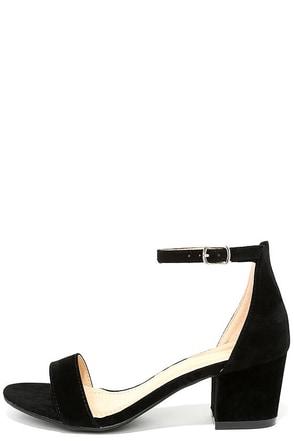 Somerset Black Suede Ankle Strap Heels at Lulus.com!
