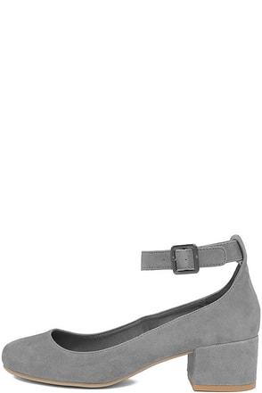 Steve Madden Wails Grey Suede Ankle Strap Heels at Lulus.com!