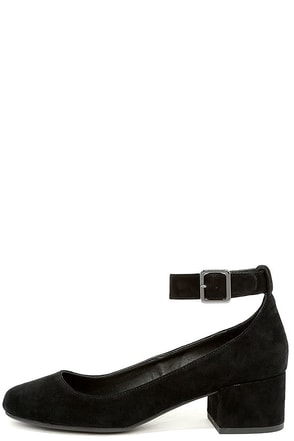Steve Madden Wails Black Suede Leather Ankle Strap Heels at Lulus.com!