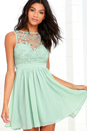 Jolly Song Sage Green Lace Skater Dress at Lulus.com!