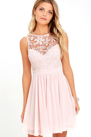 Jolly Song Grey Lace Skater Dress at Lulus.com!