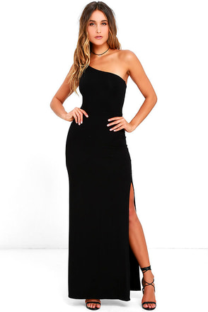 Face to Face Black One Shoulder Maxi Dress at Lulus.com!