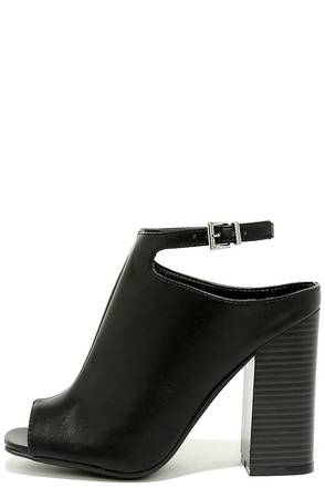 Like Lightning Black Peep-Toe Mules at Lulus.com!
