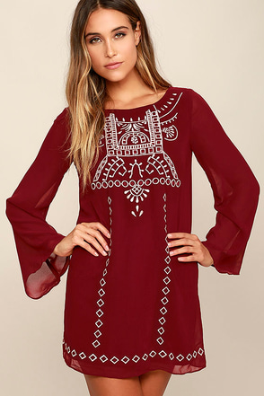 Well Traveled Wine Red Embroidered Shift Dress at Lulus.com!