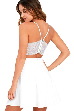 Perfect Evening Ivory Lace Skater Dress at Lulus.com!