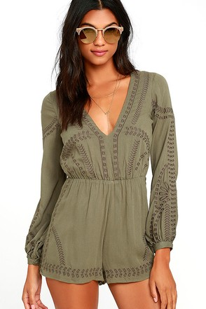 Postcards from Cabo Olive Green Embroidered Romper at Lulus.com!