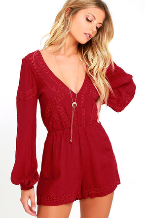 Postcards from Cabo Wine Red Embroidered Romper at Lulus.com!