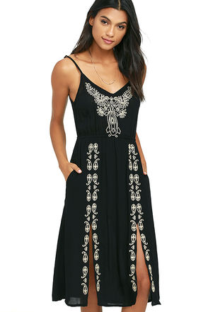 O'Neill Mustang Black Embroidered Dress at Lulus.com!
