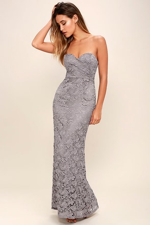 Inherent Beauty Grey Lace Strapless Maxi Dress at Lulus.com!