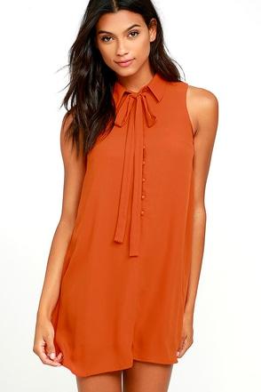 J.O.A. Tambourine Dream Rust Orange Swing Dress at Lulus.com!
