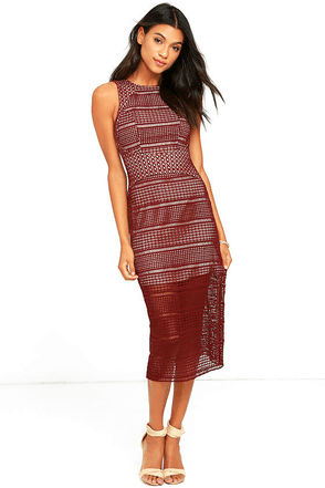 Keepsake Sweet Nothing Burgundy Lace Midi Dress at Lulus.com!