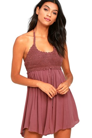 O'Neill Alexis Mauve Purple Crochet Halter Dress at Lulus.com!