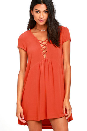 Amuse Society Ludlow Coral Red Babydoll Dress at Lulus.com!