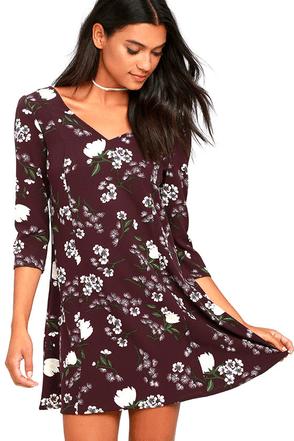 Jack by BB Dakota Lelina Purple Floral Print Shift Dress at Lulus.com!