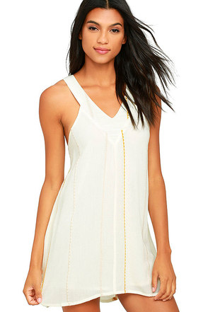 O'Neill Diedra Ivory Embroidered Shift Dress at Lulus.com!