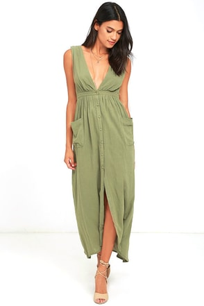Billabong Voyager Olive Green Maxi Dress at Lulus.com!