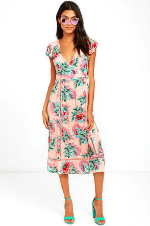 Mink Pink Parade About Blush Pink Floral Print Midi Dress at Lulus.com!