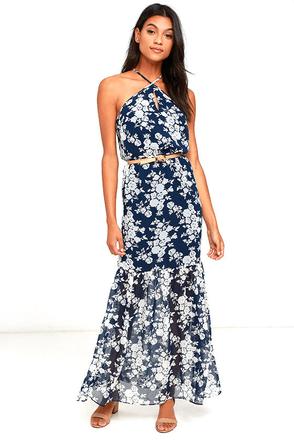 Ali & Jay Joelle Navy Blue Floral Print Maxi Dress at Lulus.com!
