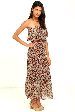 J.O.A  Kimber Burgundy Floral Print Strapless Midi Dress at Lulus.com!