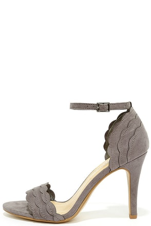 What's Scallop Grey Suede Ankle Strap Heels at Lulus.com!