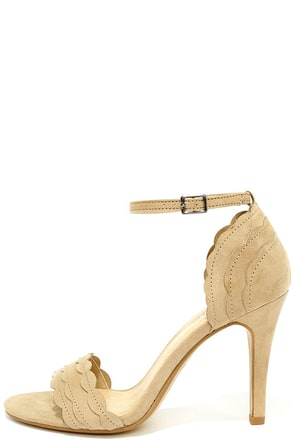 What's Scallop Taupe Suede Ankle Strap Heels at Lulus.com!
