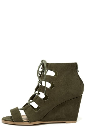 All So Magical Khaki Suede Lace-Up Wedges at Lulus.com!