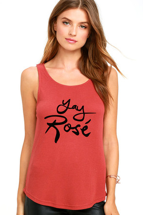 Mink Pink Yay Rose Marsala Tank Top at Lulus.com!