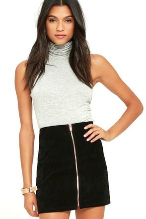 Mink Pink Feelin It Black Suede A-Line Skirt at Lulus.com!