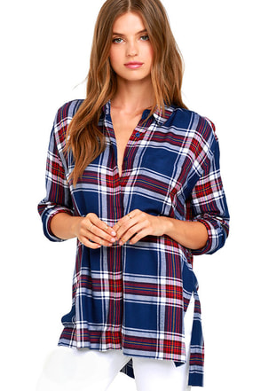 Olive & Oak Something Borrowed Navy Blue Plaid Button-Up Top at Lulus.com!