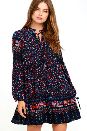 Glamorous Sugar, Sugar Navy Blue Floral Print Dress at Lulus.com!