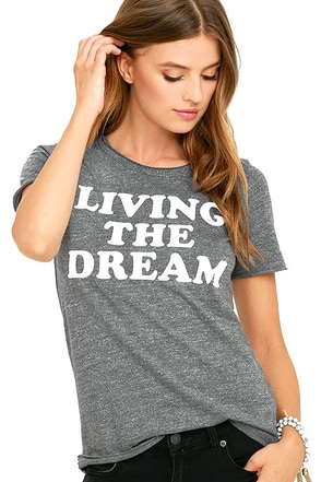 Chaser Living the Dream Heather Grey Tee at Lulus.com!