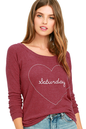 Chaser Saturday Love Washed Red Backless Sweatshirt at Lulus.com!