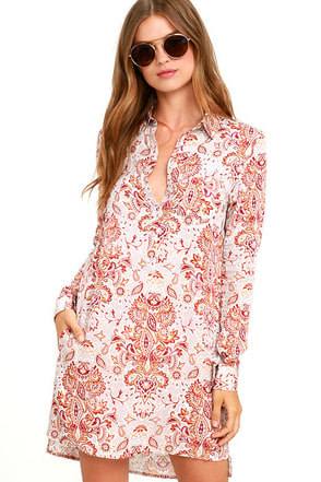 White Crow Adrift Beige Print Shirt Dress at Lulus.com!