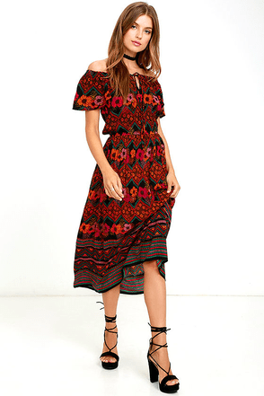 Patrons of Peace Enid Orange Print Off-the-Shoulder Dress at Lulus.com!